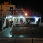 Cafe and sitting area on upper deck of ferry