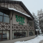 Facade of Koru Hotel Bolu with snow from the previous night