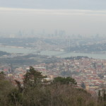 Bosphorus strait and Bosphorus bridge seen from Camlica Hill