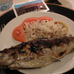 Fried trout fish