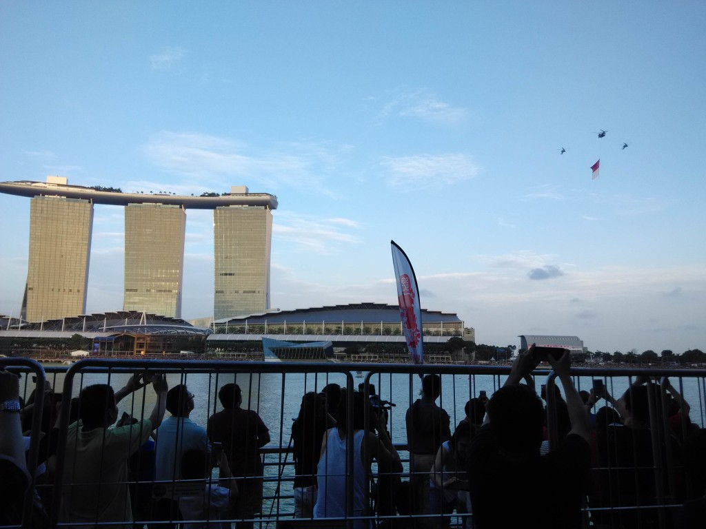 National Flag approaching the Marina Bay NDP Preview 2015