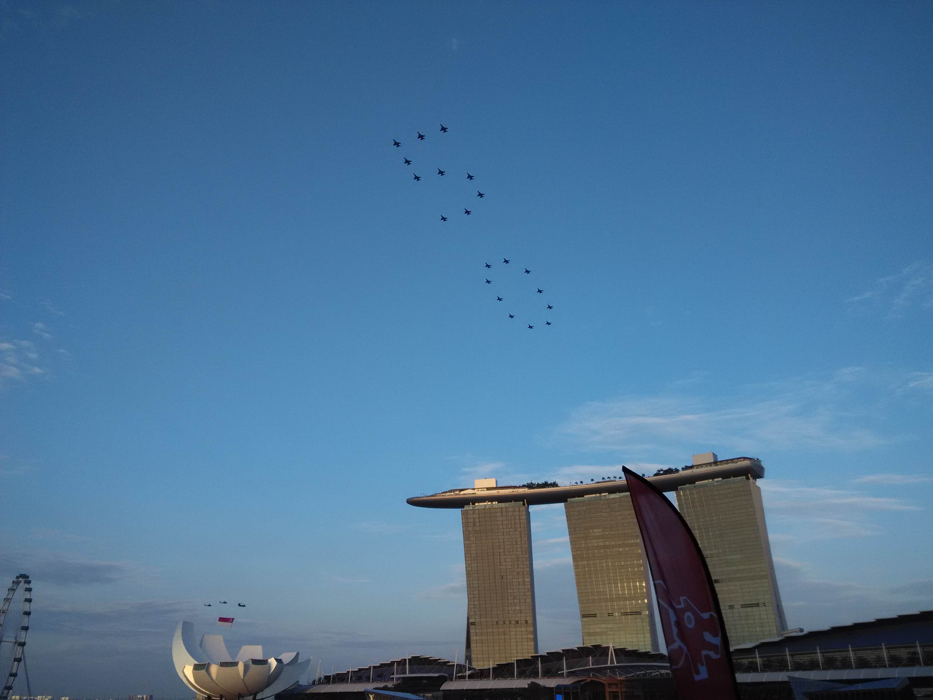 "Numerical ""50"" flying over Marina Bay Sands NDP 2015"