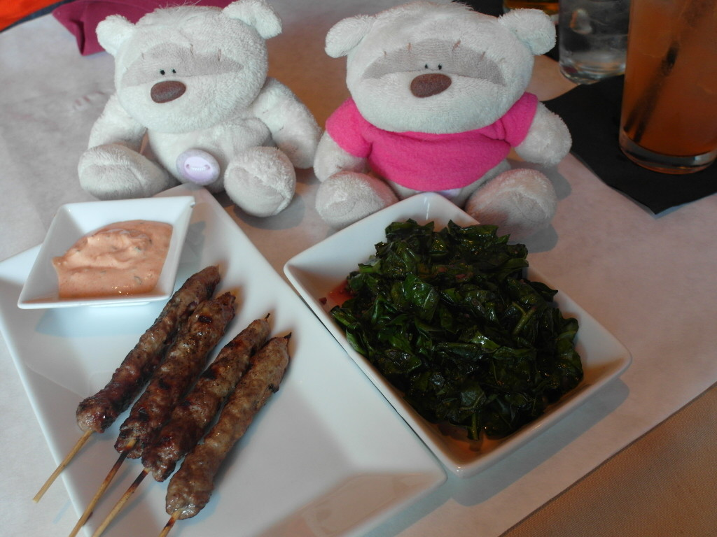 Kale with red wine, garlic and shallots $4 and Lamb Kabobs $9