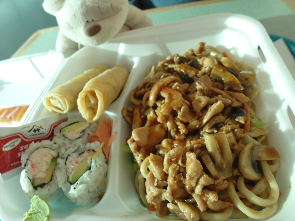 Chicken Yakisoba with california roll and spring roll. $11.99