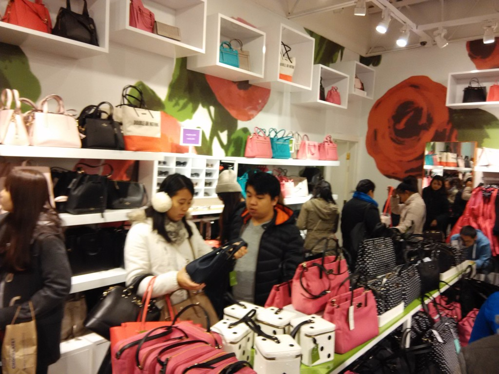 Inside Kate Spade during Black Friday Sales San Francisco Premium Outlets
