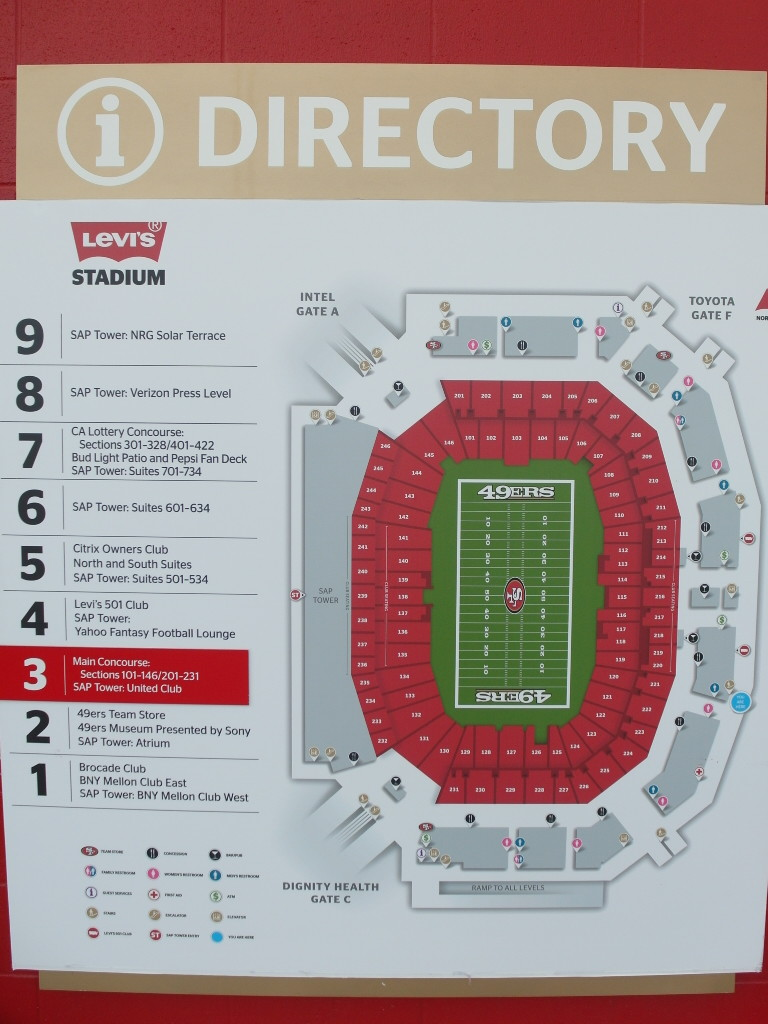 Map and Directory of Levi's Stadium San Francisco 49ers