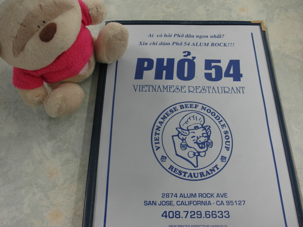 Hungry bear and her fav Viet food Pho 54 Alum Rock