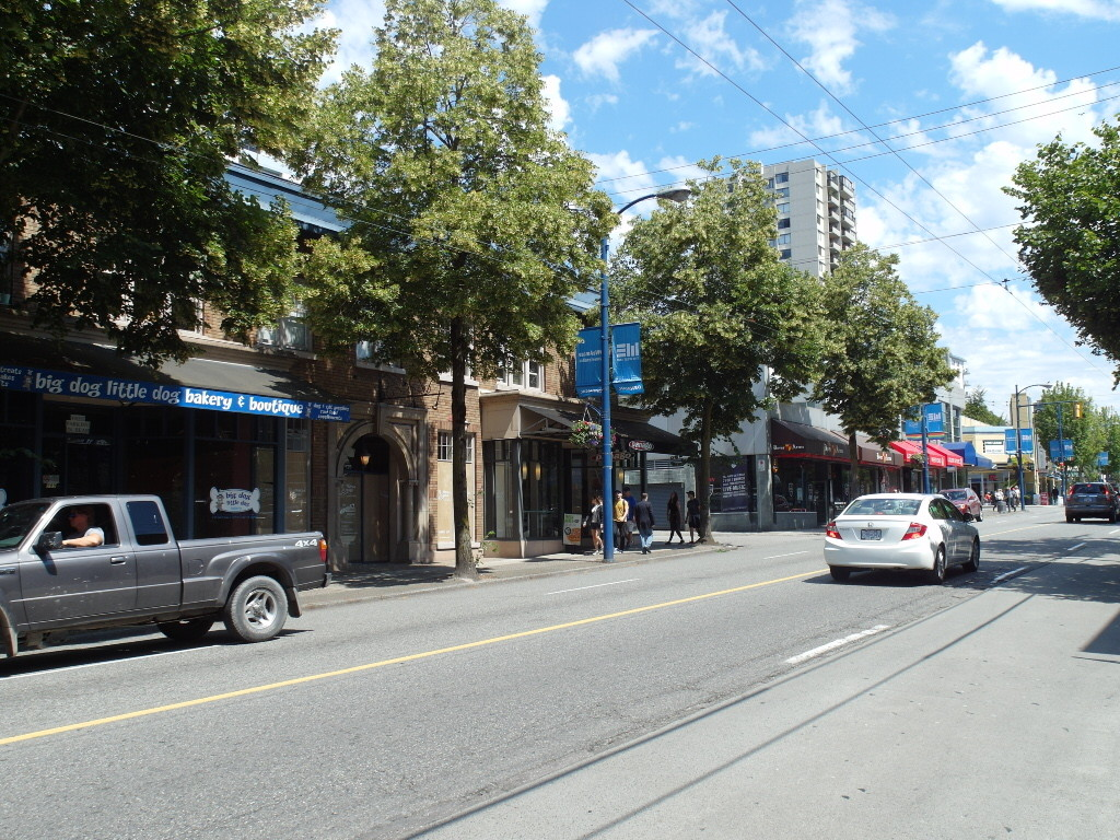 Denman Street with lots of restaurants