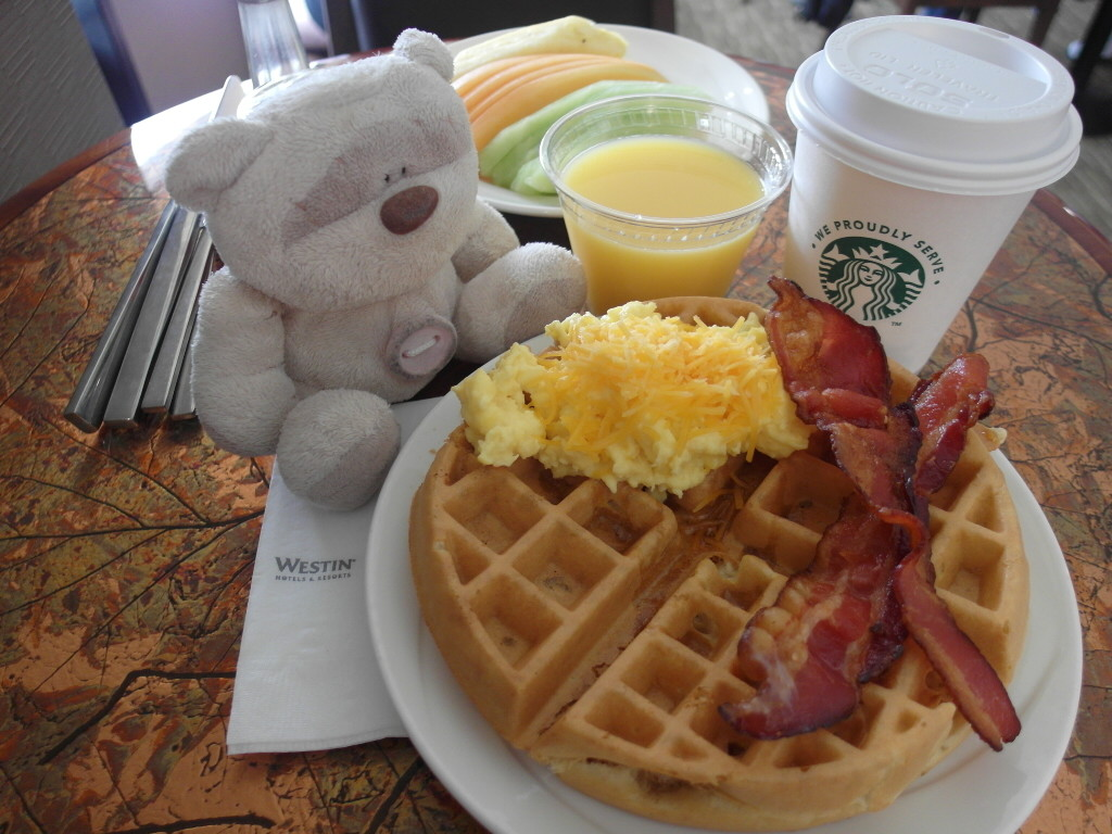 True bear with bacon and waffles