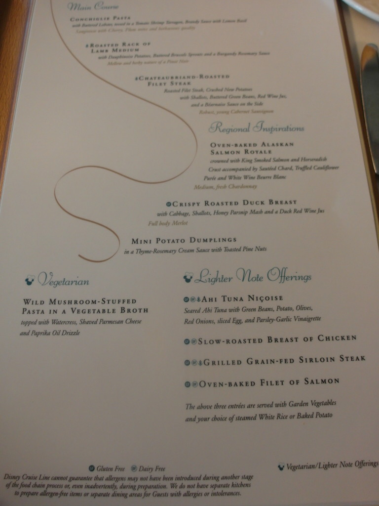 Triton Complimentary Dining Menu Disney Cruise Line