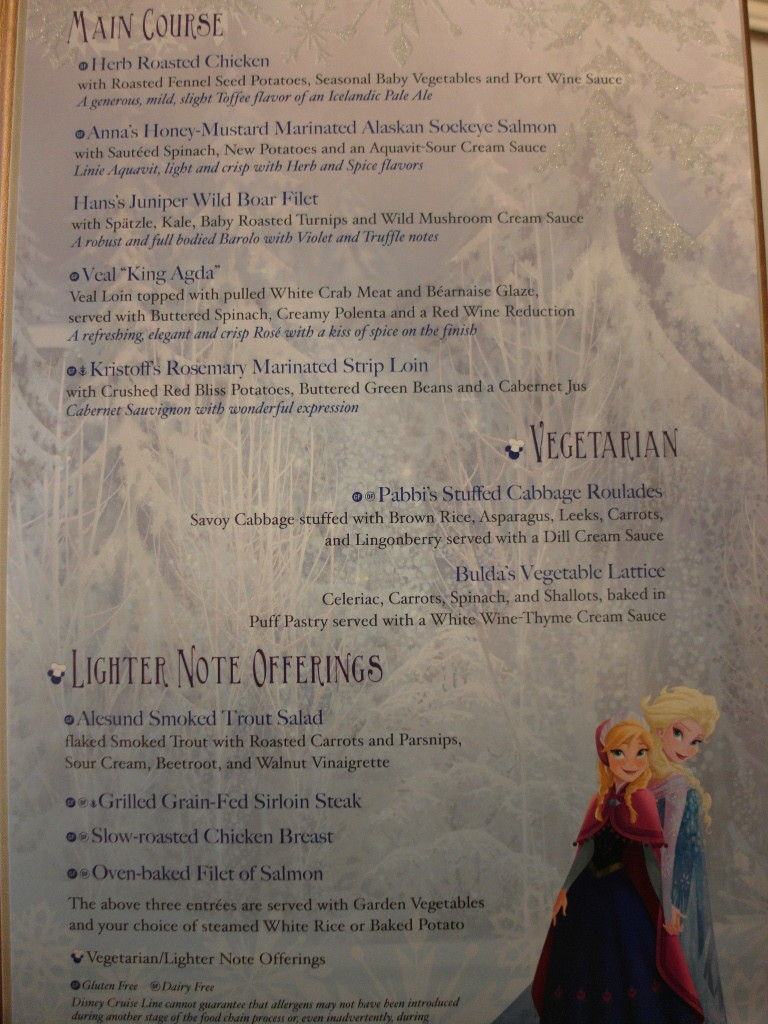 Frozen Theme Dinner Menu