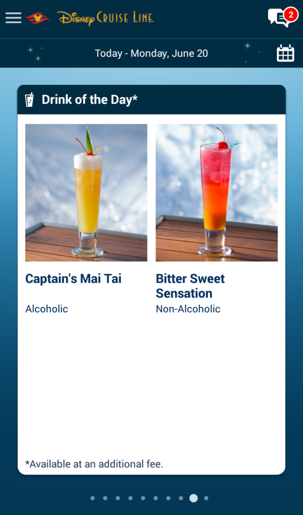 Cocktails Mocktails of the Day Disney Cruise Line Navigator App