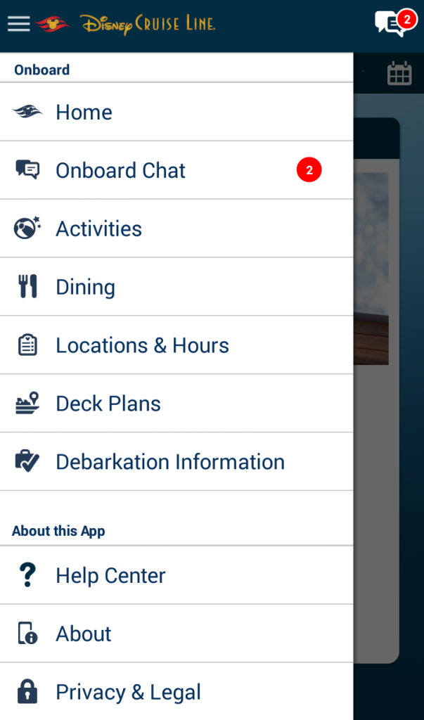 Menu Page of Disney Cruise Navigator App