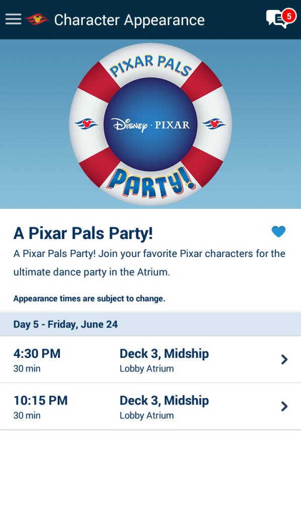 Character Appearance Disney Cruise Line Navigator App