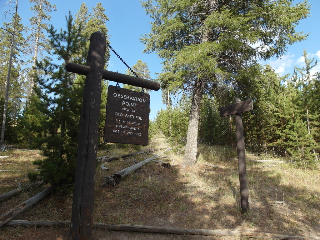 Sign to Old Faithful Geyser Observation Point