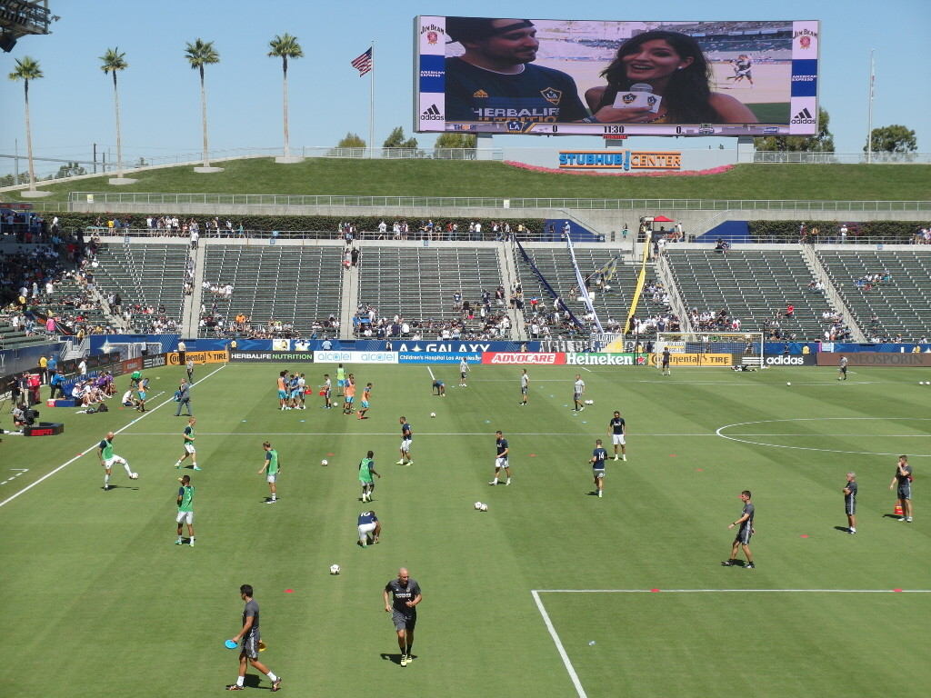 Players warming up prior to match between LA Galaxy vs Seattle Sounders