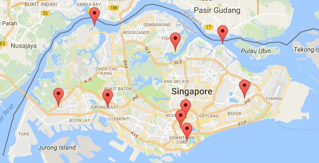 Map of Singapore under Things to do Category