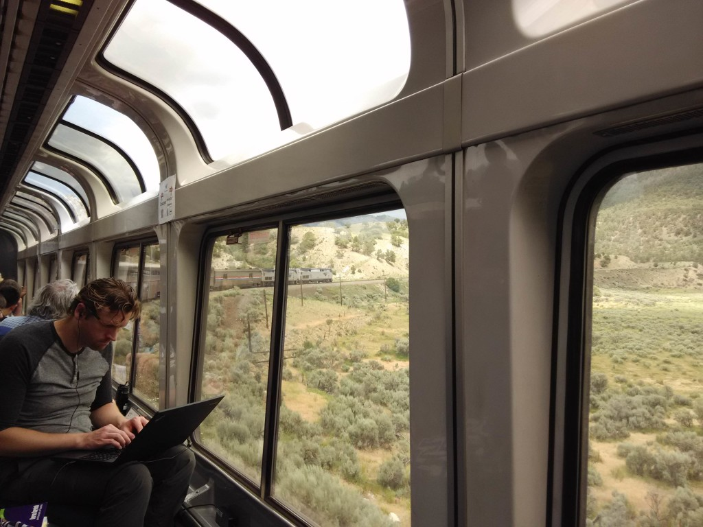 Sightseer Lounge California Zephyr Amtrak Emeryville to Chicago