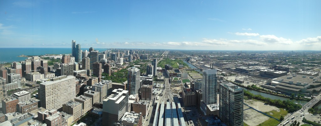 Panoramic view of Chicago from The Buckingham Hotel