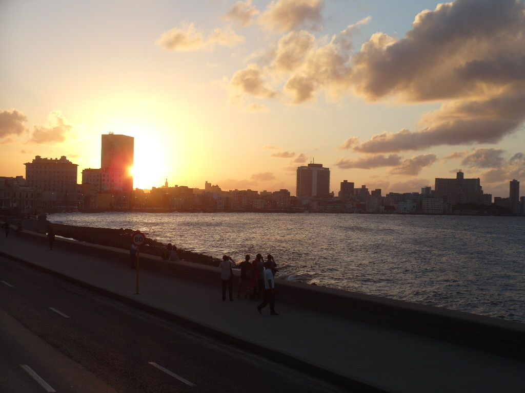 Sunset over Sea Wall Havana