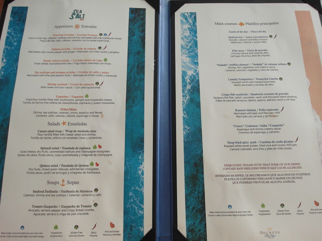 Menu @ Sea Salt Grill Secrets The Vine