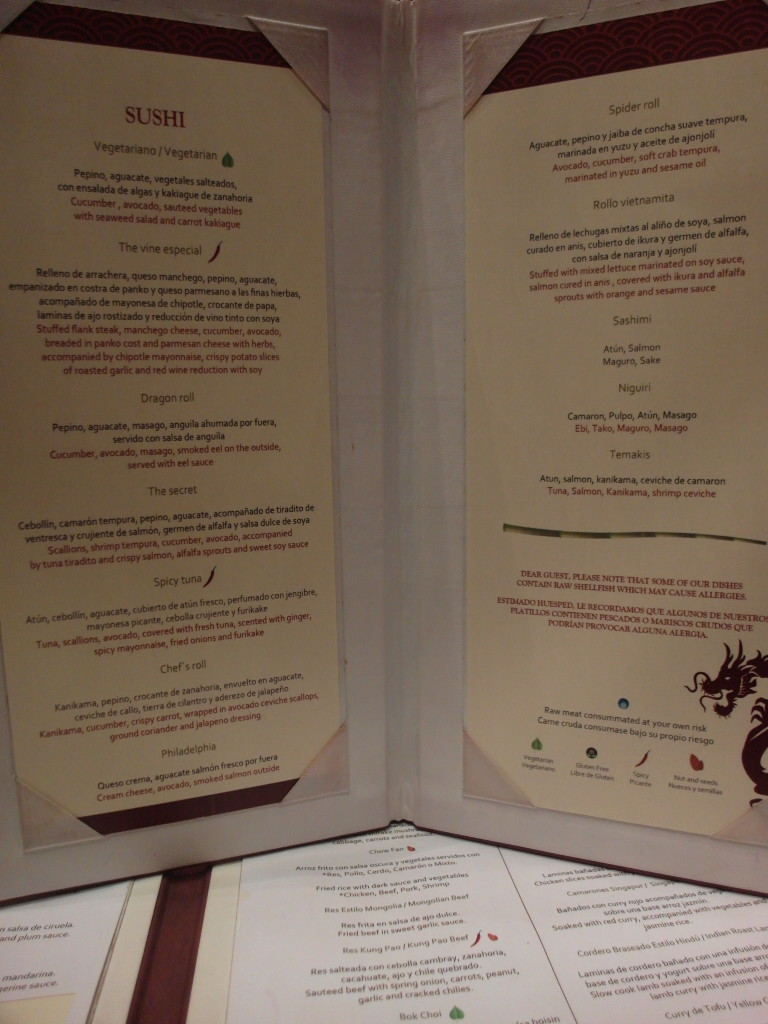 Sushi Menu Dragons Oriental Dining