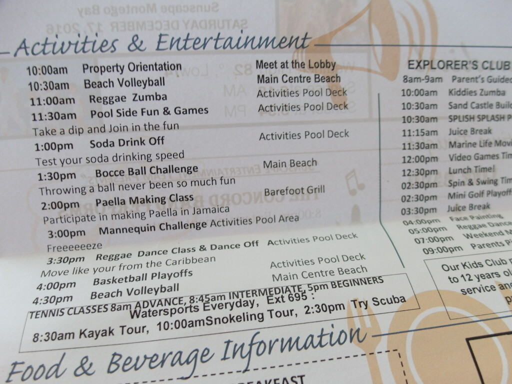 Programme Sheet Sunscape Splash Montego Bay