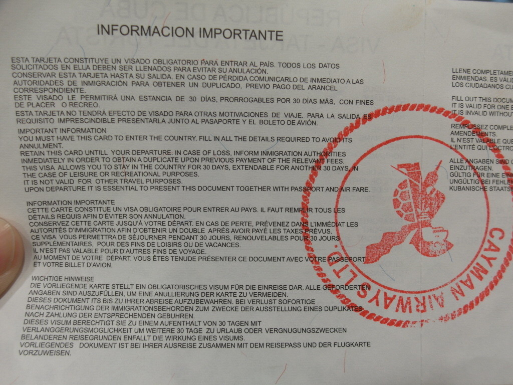 Instructions on Cuban Tourist Card