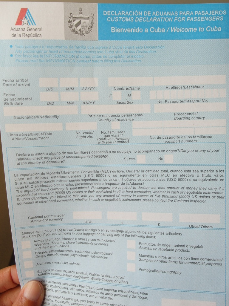 Cuba Customs Form