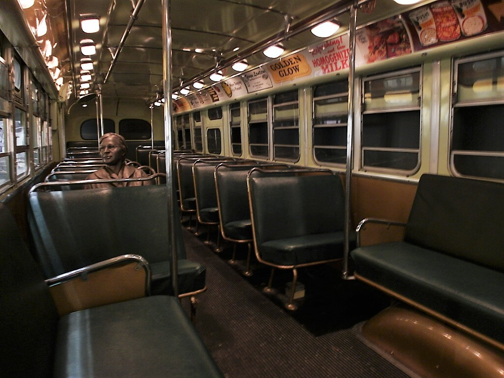 Inside the segregated bus