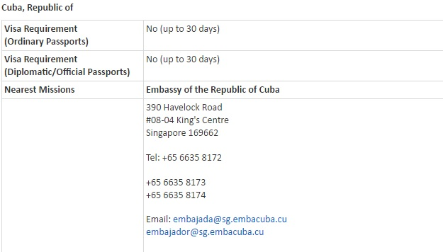 Singaporean Visa Information to Cuba