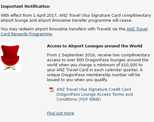 ANZ Travel Card Singapore drops complimentary lounge access