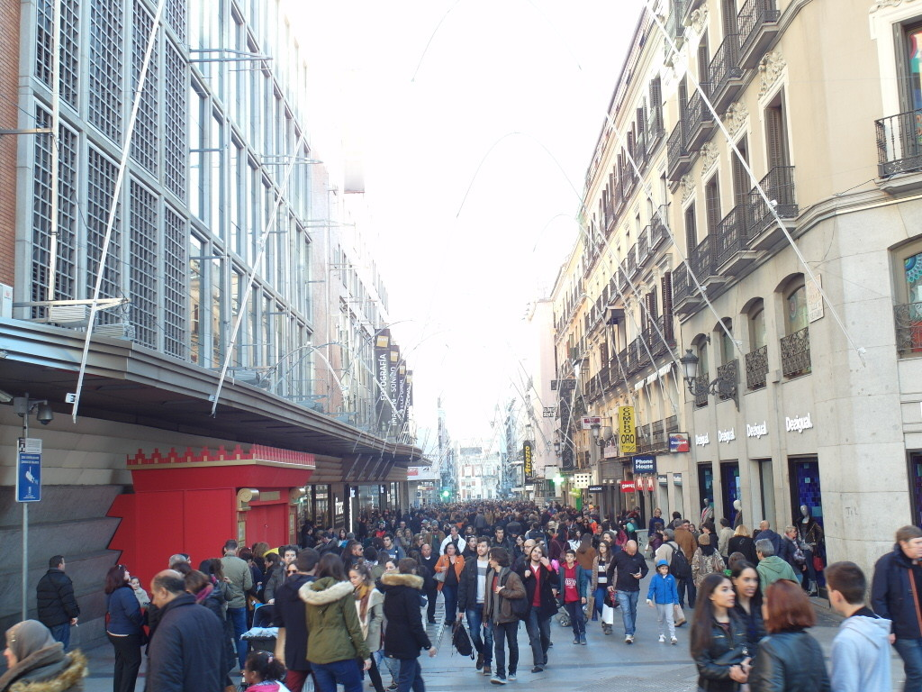 Calle de Preciados - one of the many shopping streets in Madrid