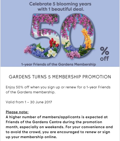 Gardens Turns 5 Membership Promotion 50 percent Discount Friends of the Gardens
