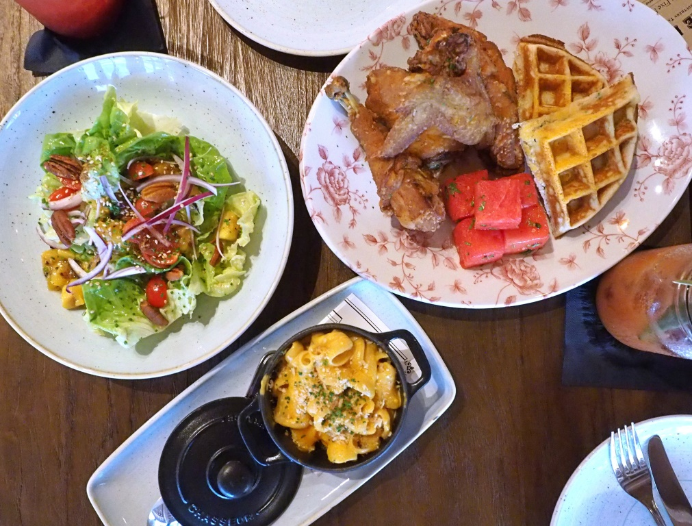 Chicken N Watermelon N Waffles, Macaroni & Cheese, Butter Lettuce and Grilled Mango Salad