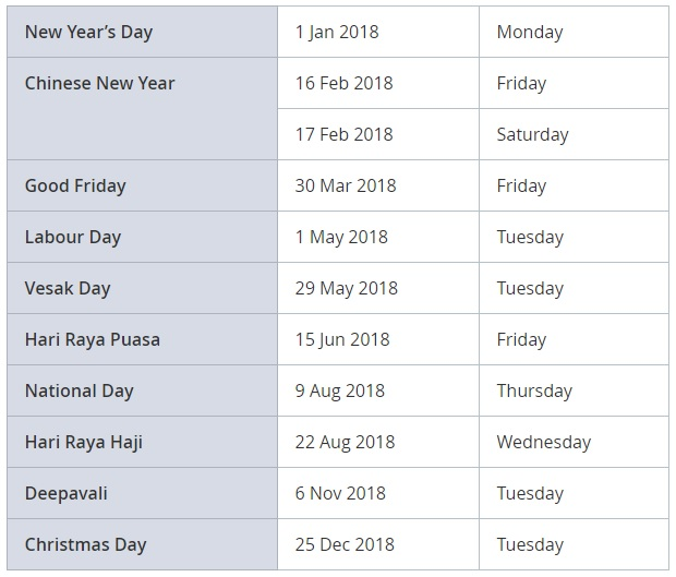 2018 Singapore Public Holidays Announced : It's Time To