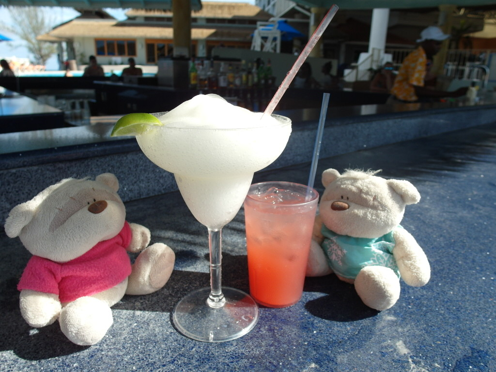 2bearbear enjoying cocktails by the pool at Sunscape Splash Montego Bay