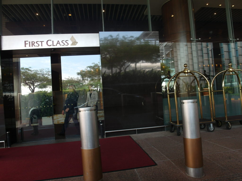 Arriving at SQ First Class Check-In Reception