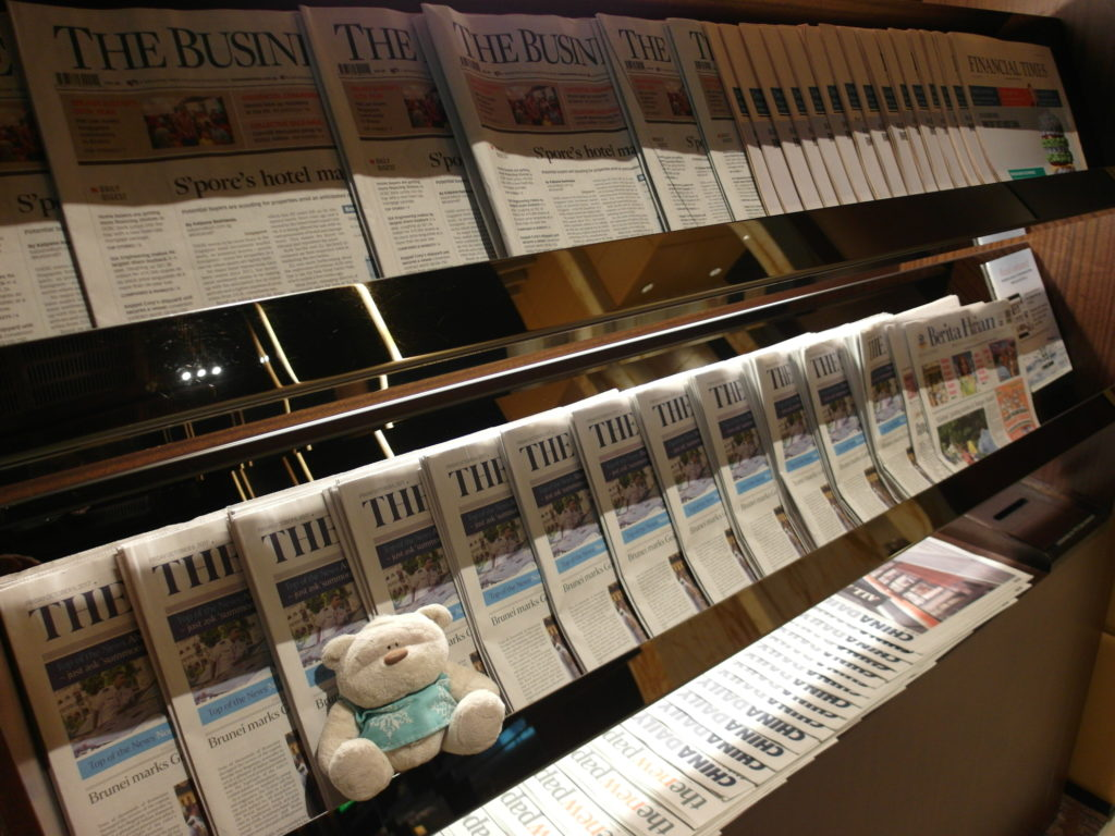 Selection of Papers and Magazines in SQ First Class Lounge