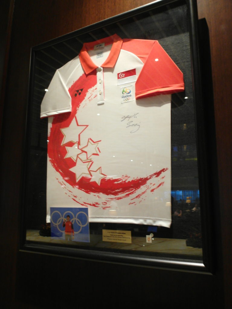 Singapore Jersey signed by Joseph Schooling in SIA SilverKris Business Lounge