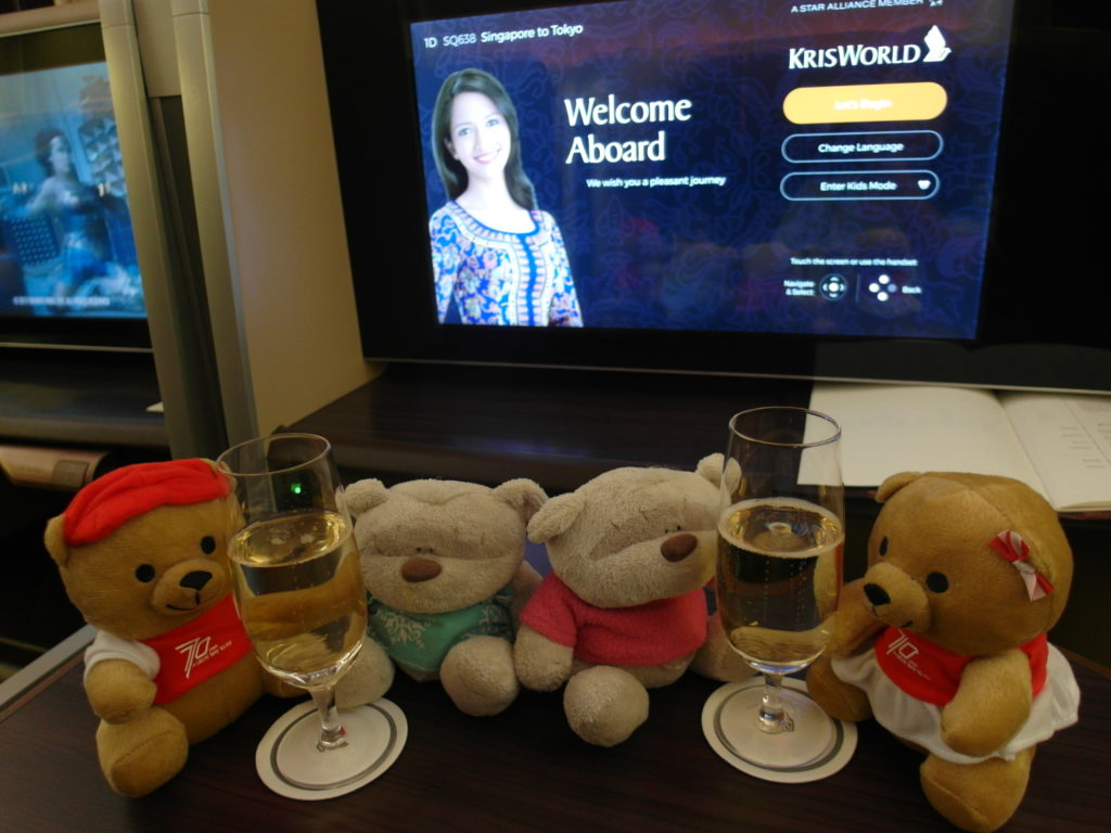 New found friends on SQ First Class Flight from SIN to NRT