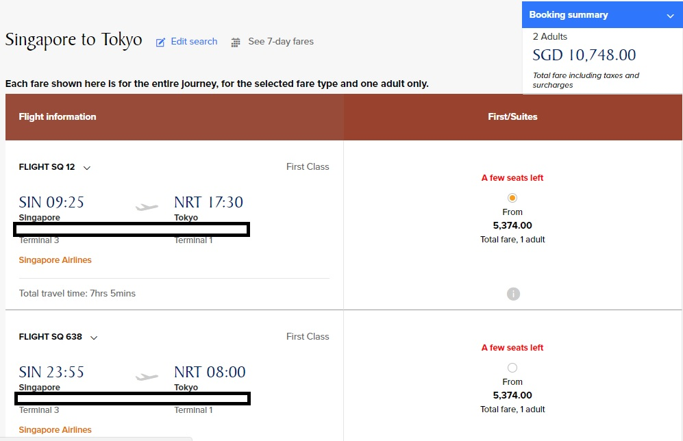 Booking SQ First Class Tickets Worth $10,748 SGD