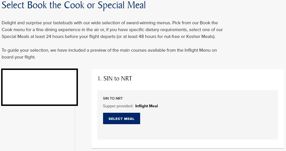 Select Meals for Supper on SQ First Class Flight