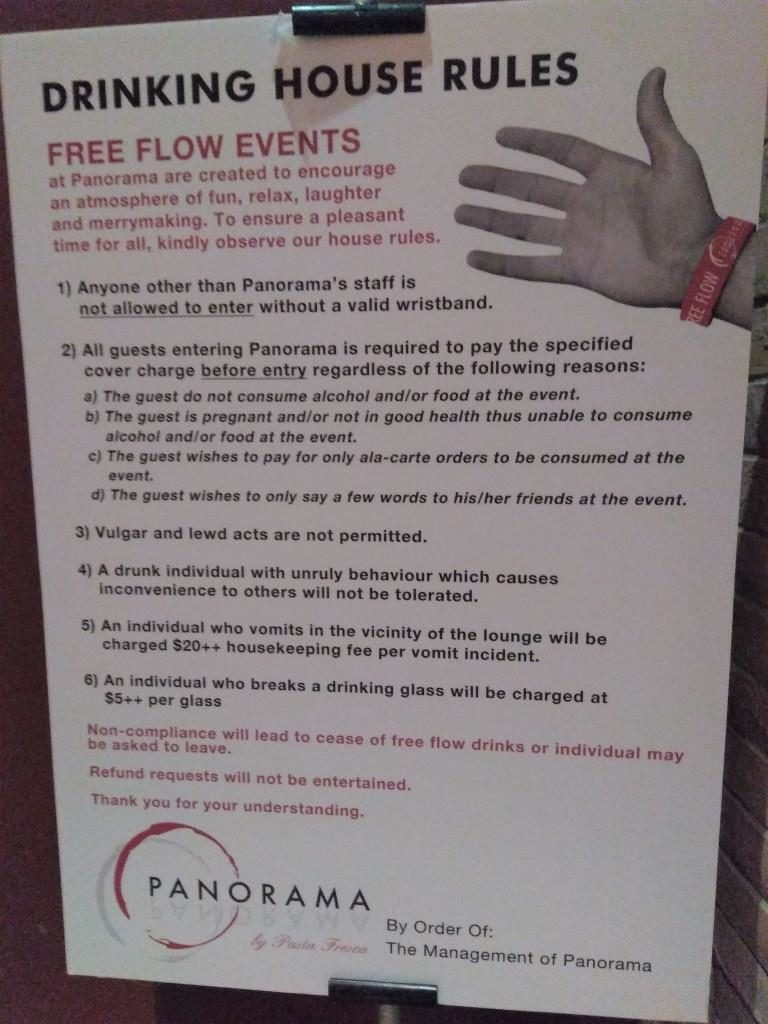 Panorama Riverside Lounge Free Flow Events House Rules
