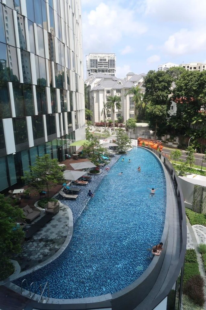 Pool View from our room at Novotel Singapore on Stevens