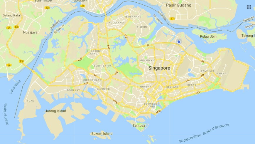 Singapore is approximately 50 kilometres (east to west) and 30 kilometres (north to south)