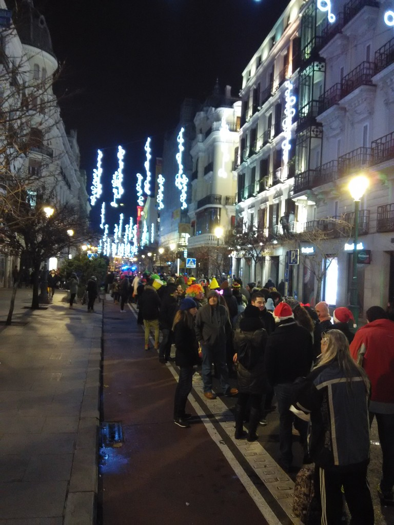 Super long queue to enter Puerta Del Sol during New Year's Eve Countdown in Madrid