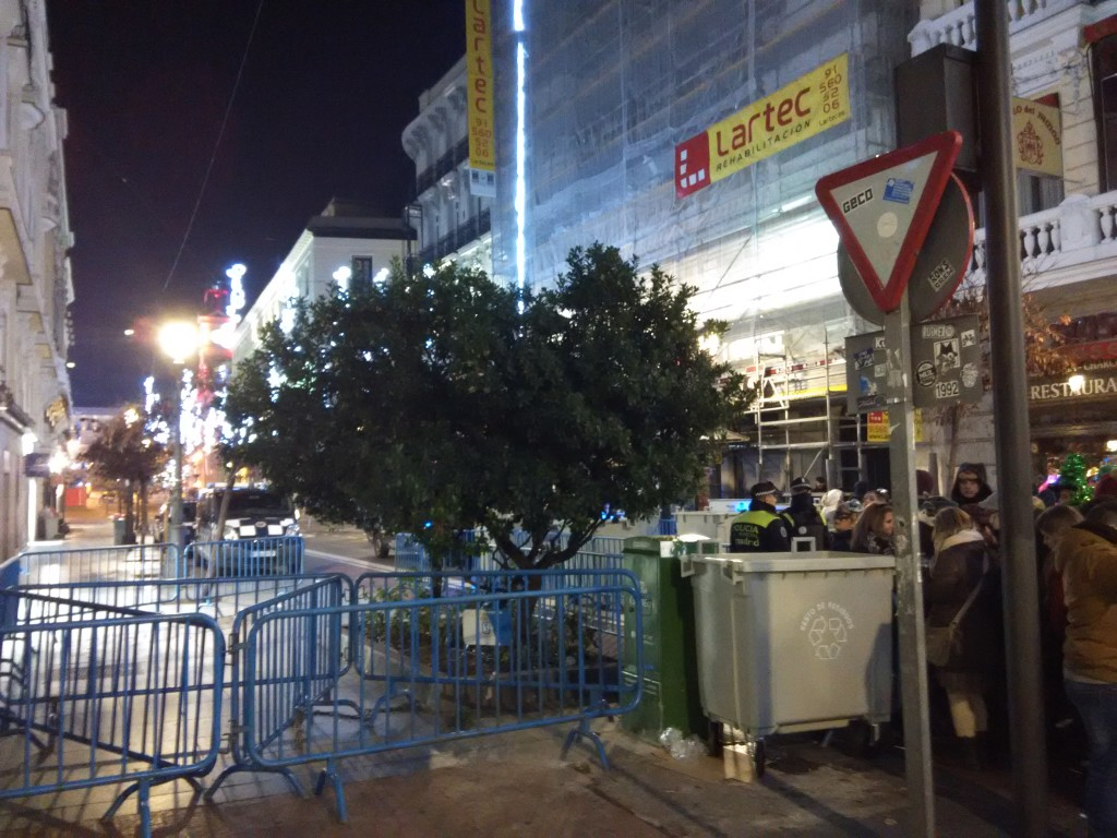 Cordoned area around Puerta Del Sol during New Year's Eve Countdown in Madrid