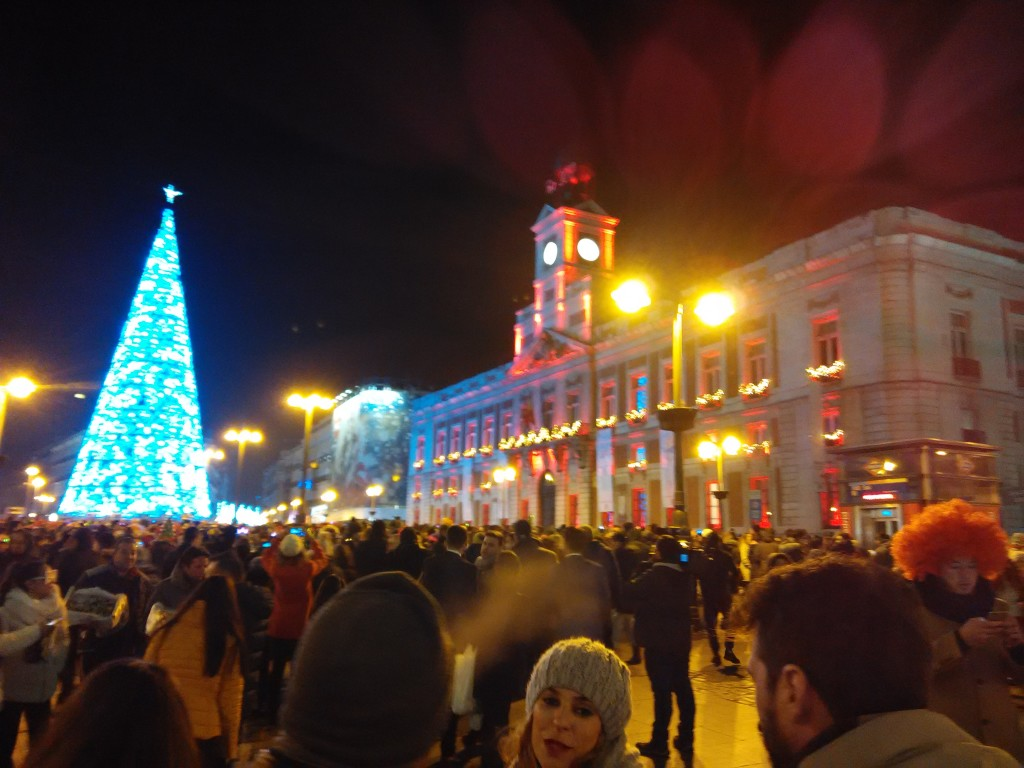 Crowd at Puerta Del Sol before Midnight on New Year's Eve in Madrid