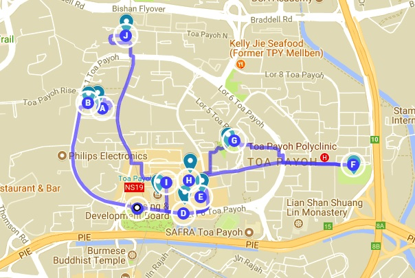 Map of Singapore Travel Series to Toa Payoh